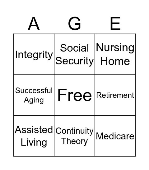 Social Aspects of Later Life Bingo Card