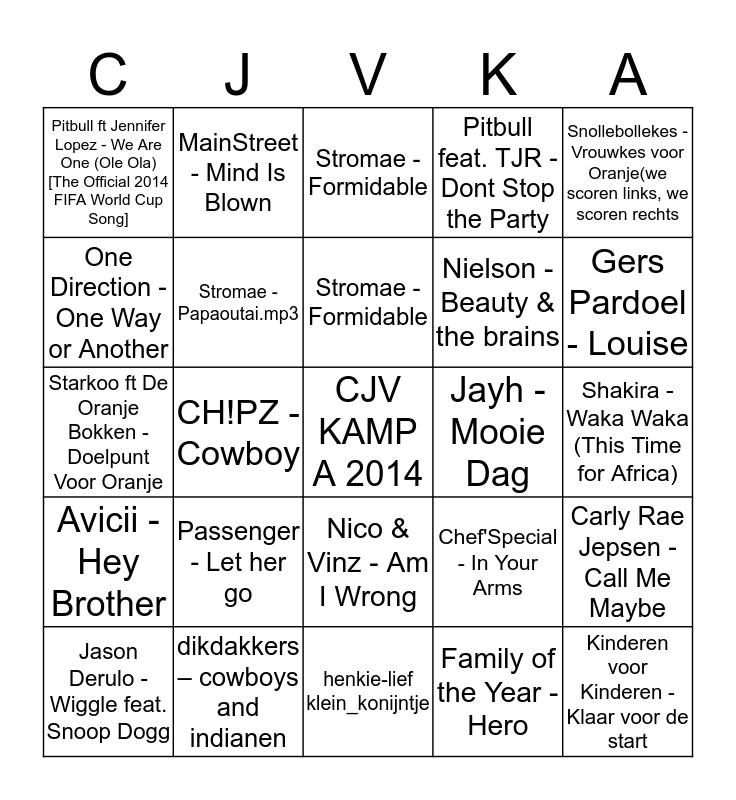 BINGO CJV KAMP A 2014 Bingo Card