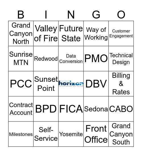 Project Horizon  Bingo Card