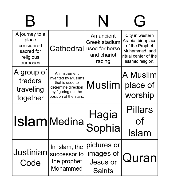 Byzantine Empire Bingo Card