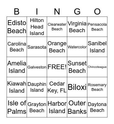 BEST BEACHES IN THE SOUTH - FEB. Bingo Card