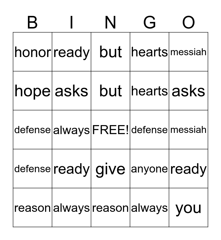 1 Peter 3:15 Bingo Card