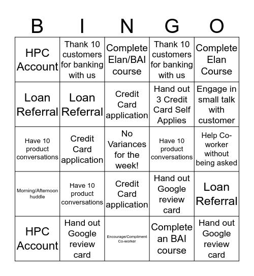Moorland In-Store Bingo  Bingo Card