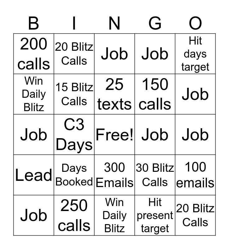 Blitz Bingo (CR) Bingo Card