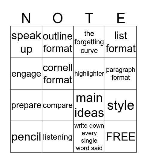 Getting the Most Out of Class Bingo Card