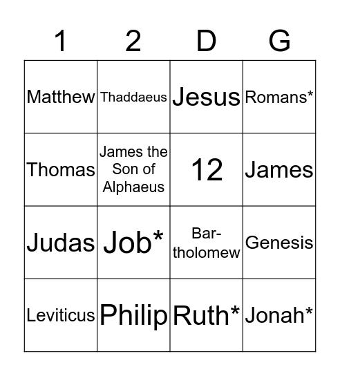 12 Disciples Bingo Card