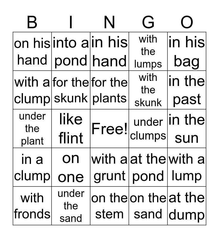 3.7 Phrases Bingo Card