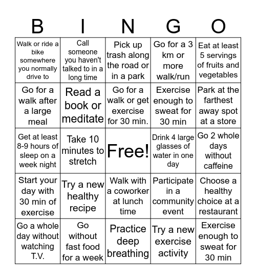 Health & Wellness Bingo Card