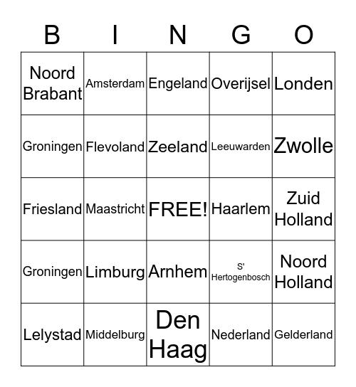 provincies hoofdsteden landen Bingo Card