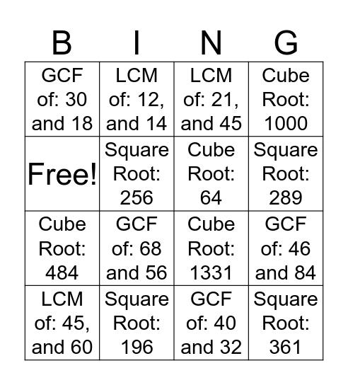 Review Bingo Card