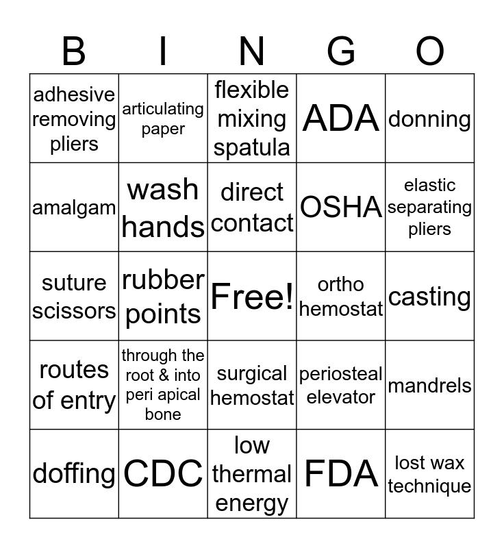 Dental Material & Infection Control Bingo Card