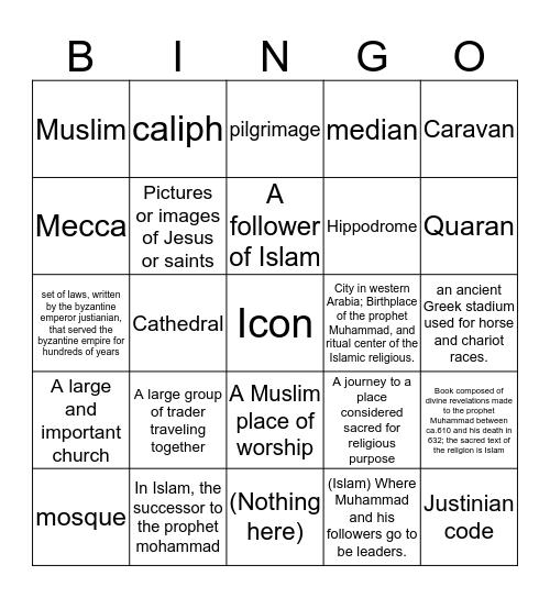 Byzantine empire  Bingo Card