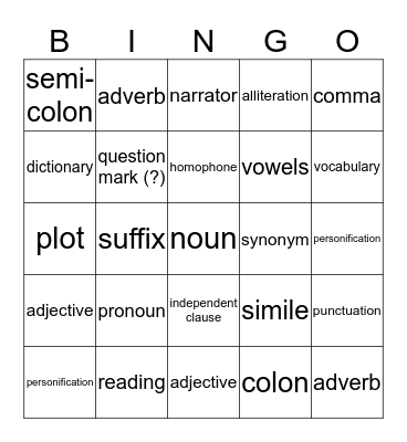 English  Bingo Card