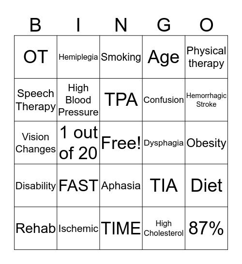STROKE AWARENESS Bingo Card