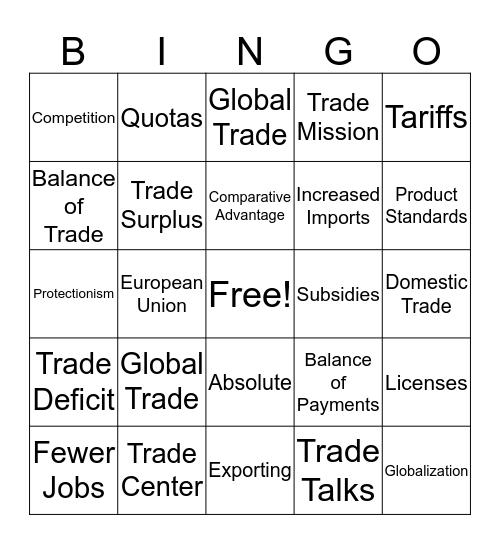 lap 7 global trade Bingo Card