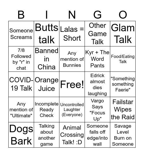 Raid Night 3/11 & 3/12 Bingo Card