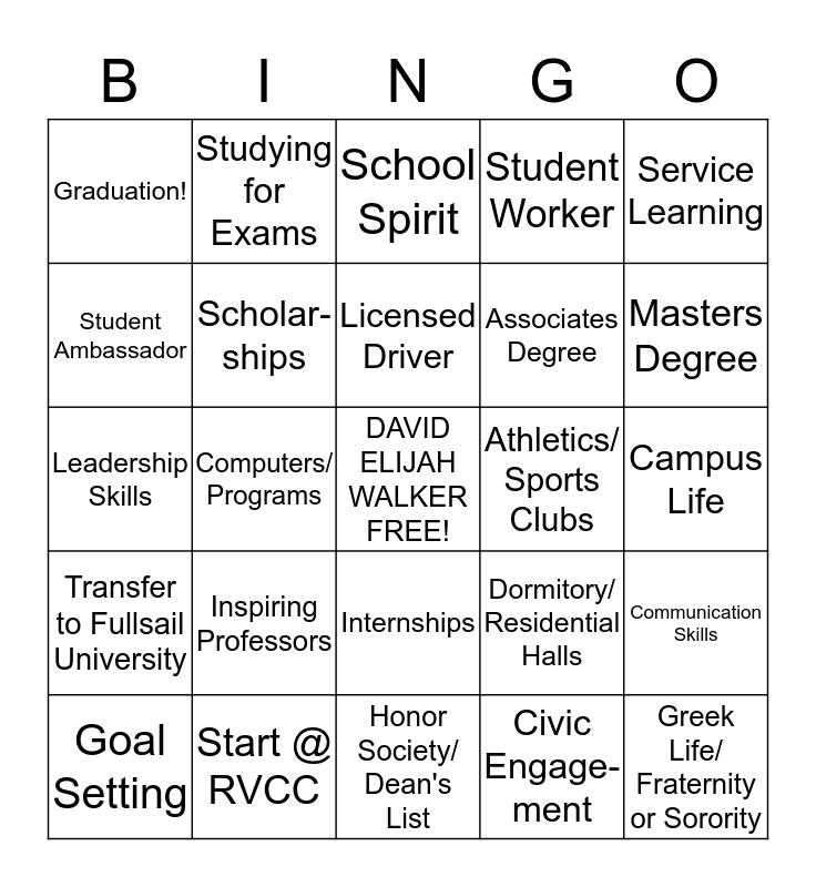 "David's ""College Life & Career"" Bingo  Bingo Card"
