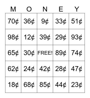 Money! Money! Money! Bingo Card