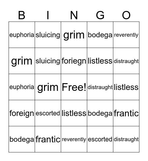 refugee Bingo Card