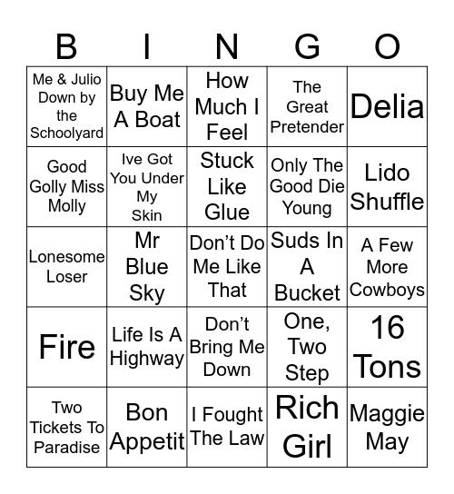 Music Bingo 43-45 Bingo Card