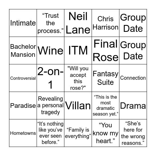 Bachelor Bingo! Bingo Card