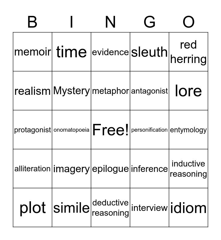 6th Grade Vocabulary Bingo Card