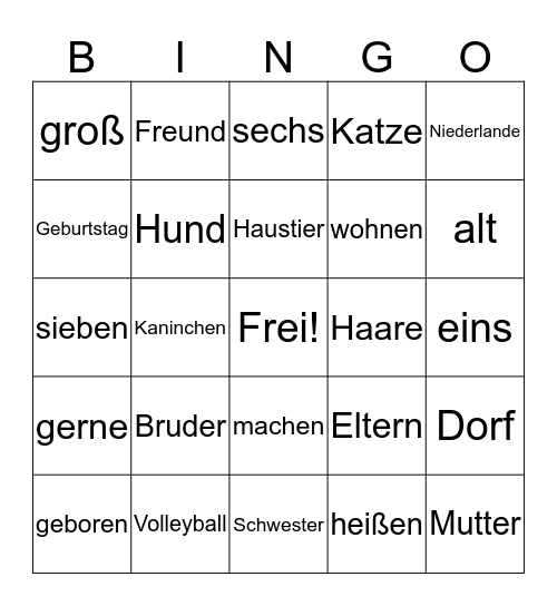 Vorstell- Bingo Card