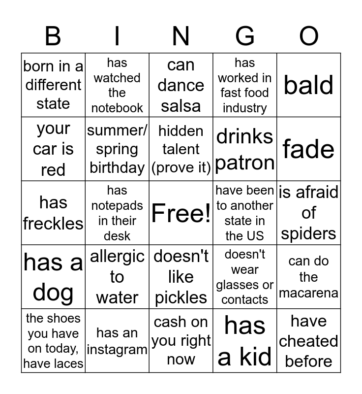 GET TO KNOW YOU MORE BINGO Card