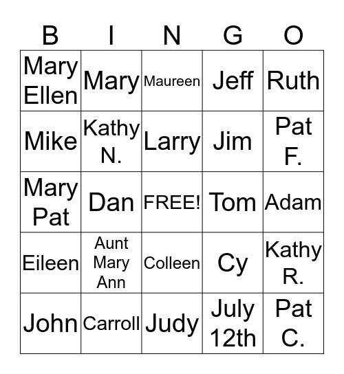Clifford/Rohan Reunion Bingo Card
