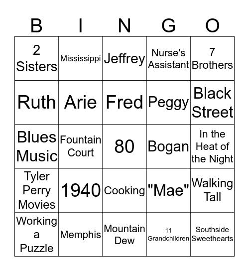 Clara's 80th Birthday Bingo Card