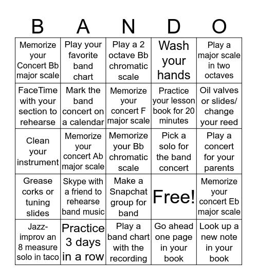 Bandemic Bingo Card