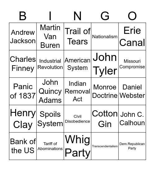 United States 1800 - 1840s Bingo Card