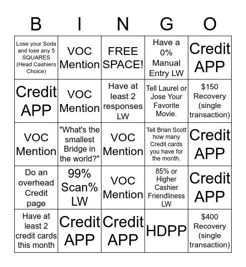 Front End Bingo Card