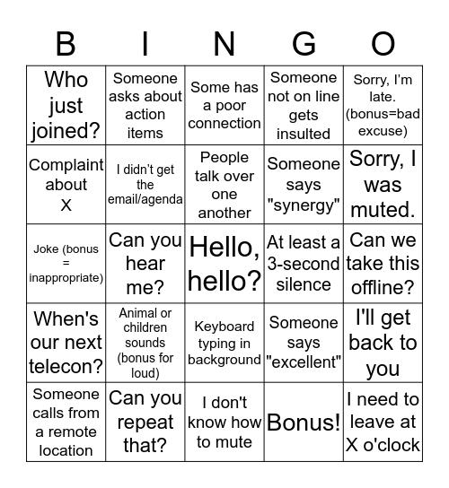 Telecon Bingo Card
