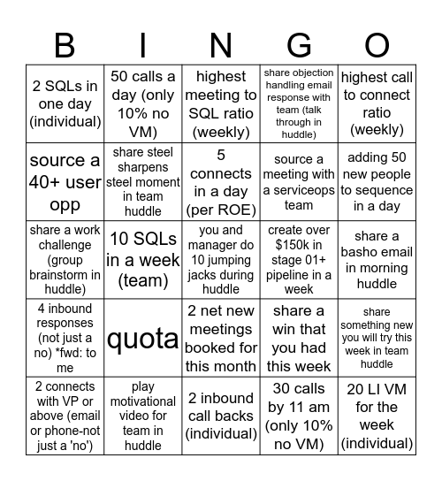 WFH WEEK 2 Bingo Card