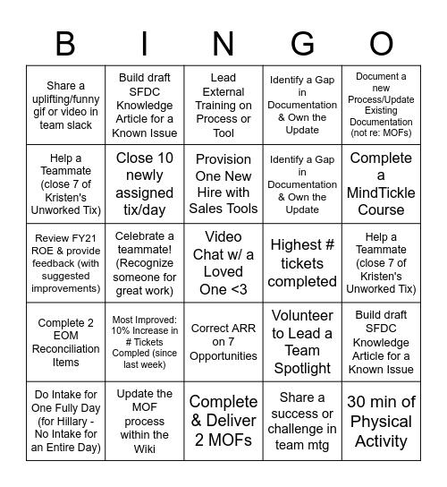 SalesOps WFH Bingo Wk 3 Bingo Card