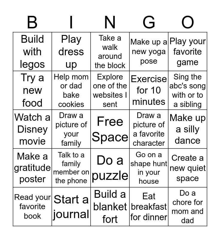 Preschool Bingo Card