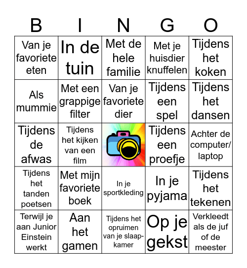 Selfie Bingo! Bingo Card