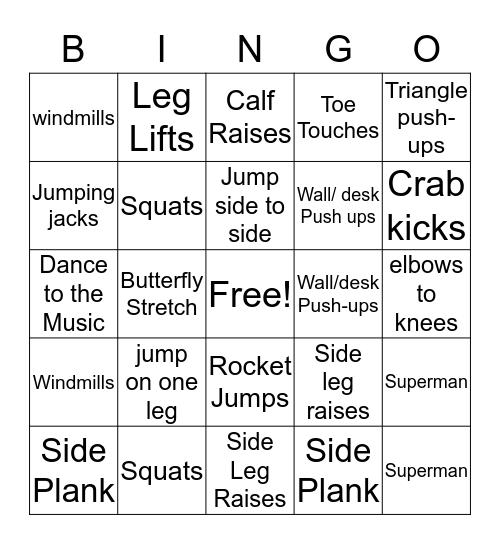 Ridgeview Exercise Bingo  Bingo Card