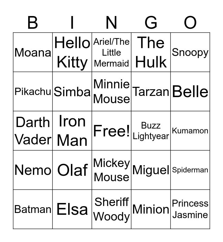 Character Taboo Bingo Card