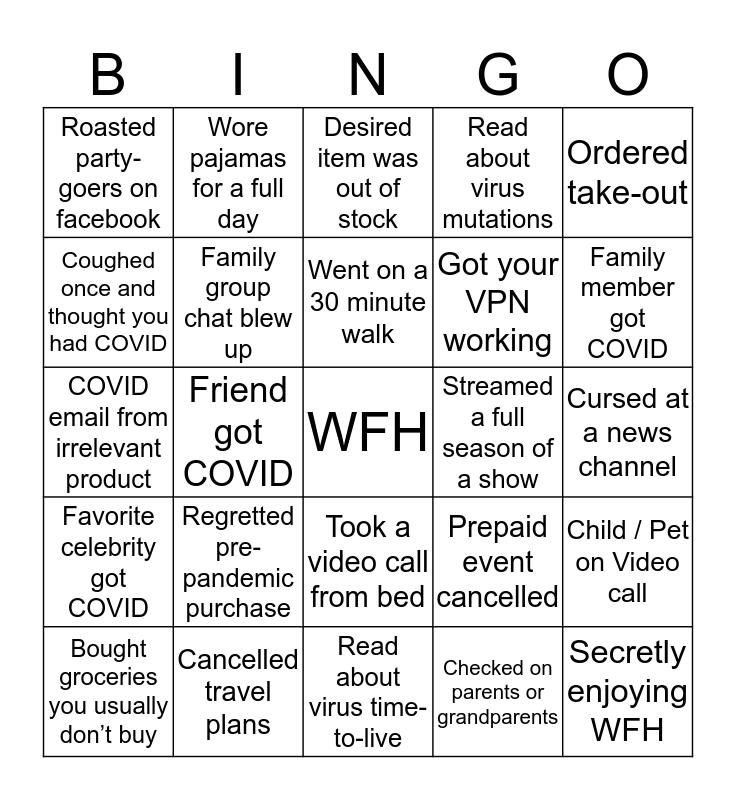 WutMo Pandemic Bingo Card