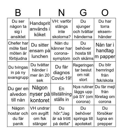 Corona-bingo för KC Bingo Card