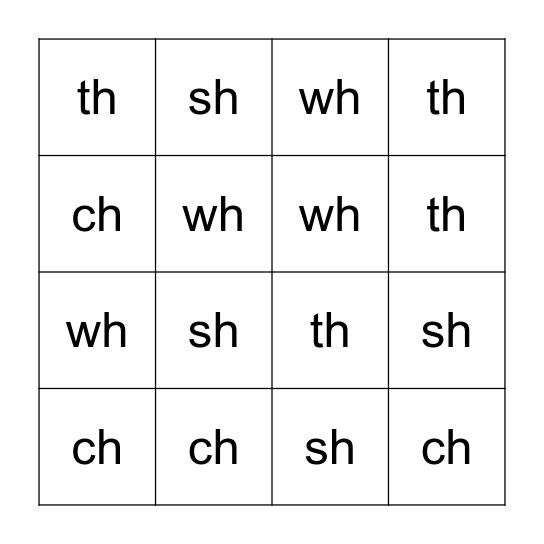 CH SH WH TH Bingo Card