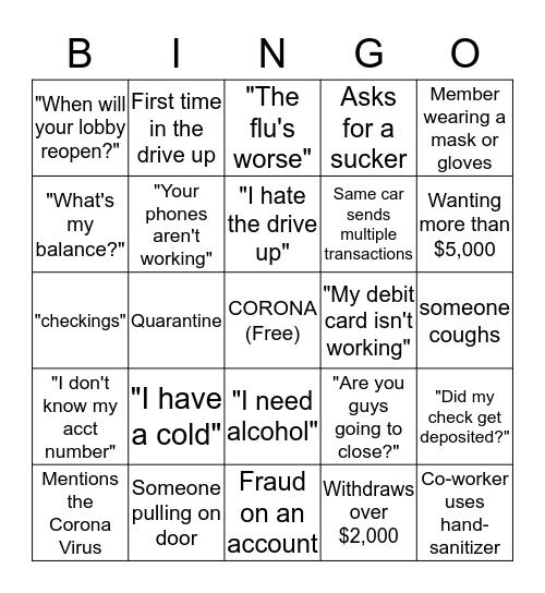 CORONA VIRUS BINGO  Bingo Card