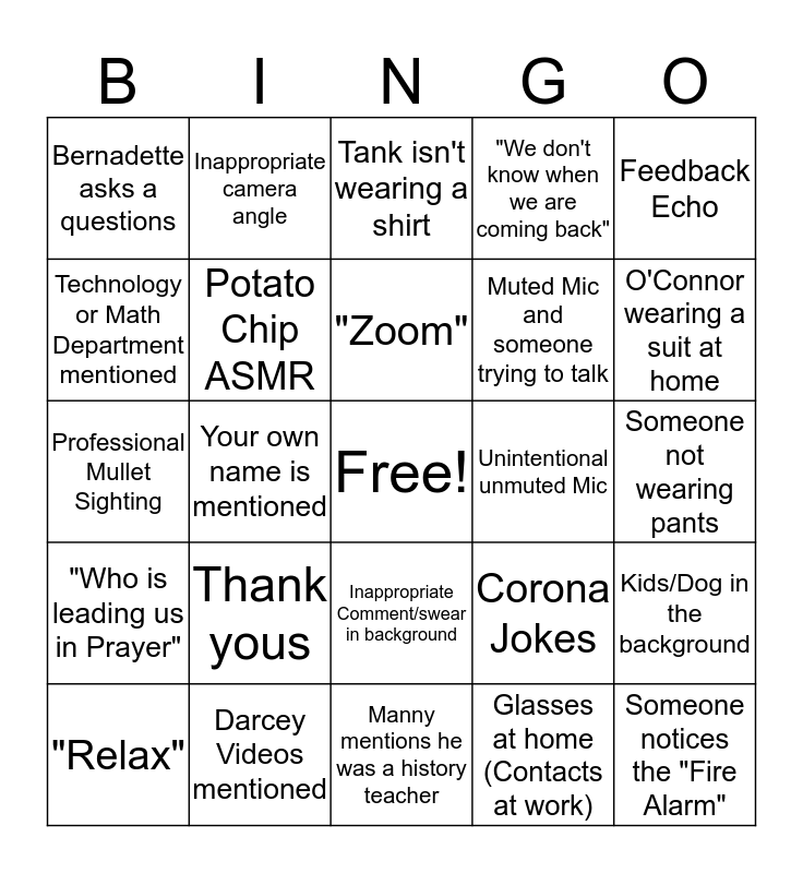 Faculty Meeting Bingo Card