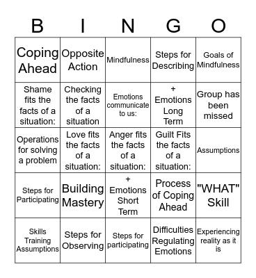 DBT Bingo Card