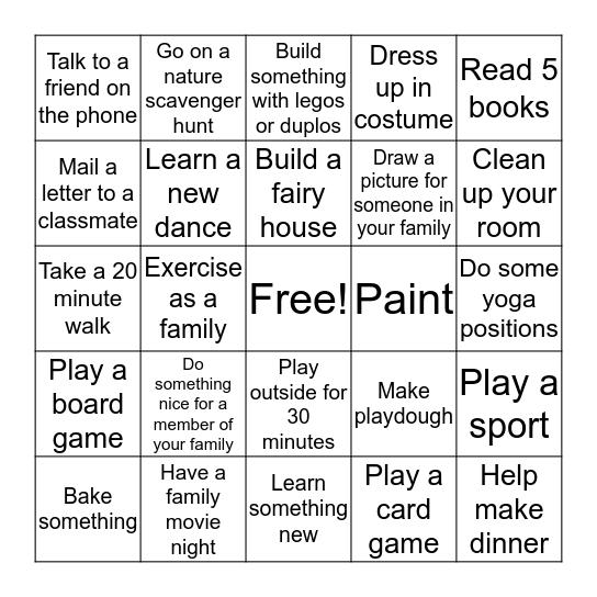 Chickadees challenge Bingo Card