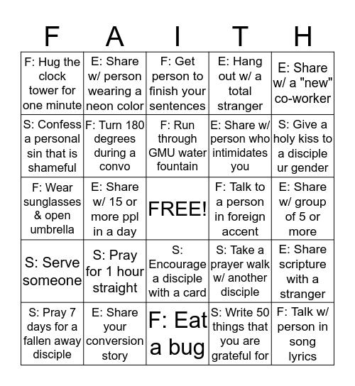 Faith Factor Bingo! Bingo Card