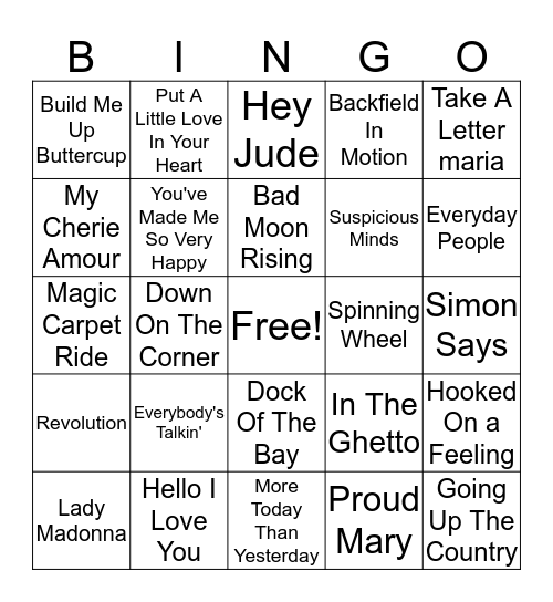 60s Hits Bingo Card