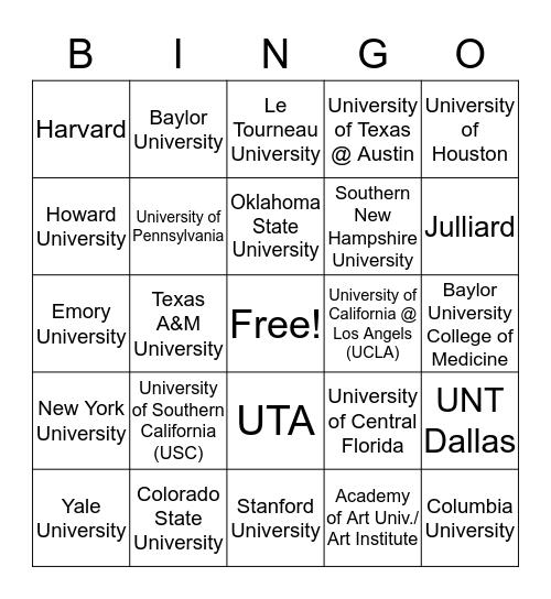 College Bingo - 8th Grade Bingo Card